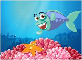 Ein Seestern und ein Fisch unter dem Meer vektor