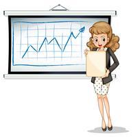 Eine Frau hält eine leere Vorlage vor dem Whiteboard vektor