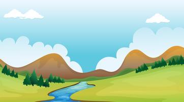 En flod och ett vackert landskap vektor