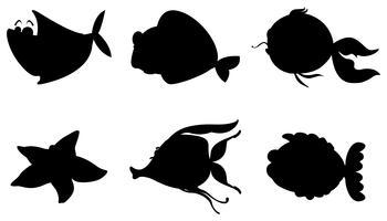 Verschiedene Silhouetten von Meerestieren