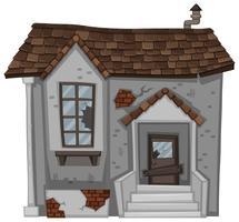 Backsteinhaus mit zerbrochener Tür und Fenster