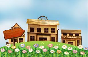 En pil och husen