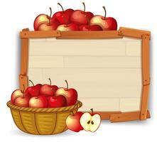 Apple im Korb auf hölzerner Fahne vektor
