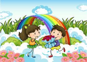 Ett par som daterar nära regnbågen vektor