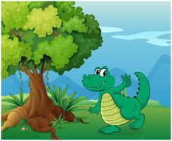 Ein Krokodil in der Nähe des Baumes