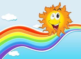 Eine lächelnde Sonne in der Nähe des Regenbogens