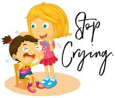 Stor syster och liten tjej gråter