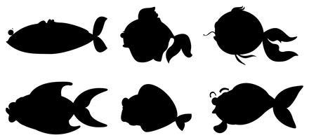 Olika fiskar i svart färg