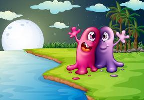 Zwei beste Freunde am Flussufer vektor