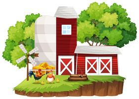 Bauernhofszene mit Hühnern bei den Scheunen