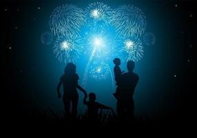 Family New Year Fireworks Vector Bakgrund