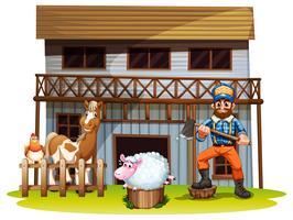 Tiere und Holzfäller