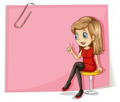 Eine hübsche Dame vor der leeren rosa Beschilderung
