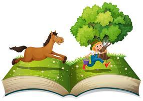 Bonde och häst vektor