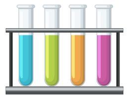 Reagenzgläser mit verschiedenen Chemikalien im Inneren vektor