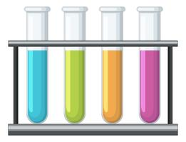 Testtubes med olika kemiska insidan vektor