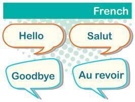 Unterschiedliche Ausdrücke in französischer Sprache vektor