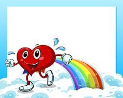 Eine leere Vorlage mit einem Regenbogen und einem gehenden Herzen