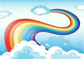 En himmel med en regnbåge vektor