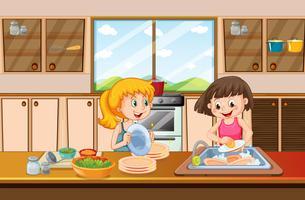 Mädchen, die Teller in der Küche säubern vektor