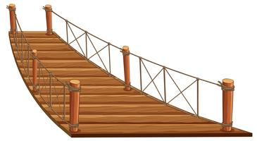 Träbro med rep fastsatt