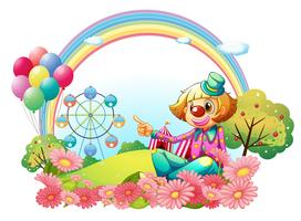 En clown i karnevalen med en trädgård