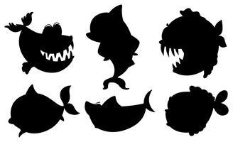 Eine Schule von schwarzen Fischen vektor