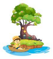 Ein Junge beim Bootfahren