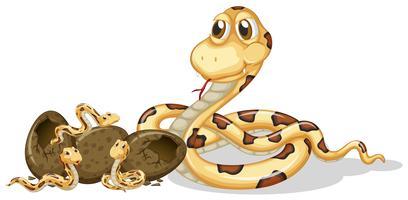 Klapperschlange und ihre Nachkommen vektor