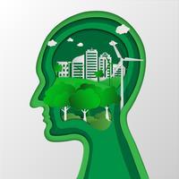 Denkender Umweltschutz des menschlichen Kopfes. Naturlandschaft und umweltfreundliches Konzept. Origami-Konzept und Ökologie-Idee, Save Earth Planet World Concept. Weltumwelttag Konzept .; vektor