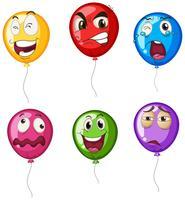 Heliumballonger med ansiktsuttryck vektor