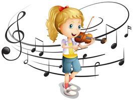 Liten flicka spelar fiol vektor