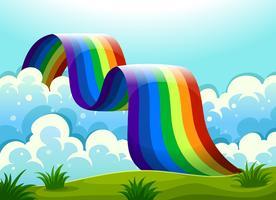En regnbåge som förbinder himlen och kullen vektor