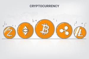 Digital-Geld-Kryptowährung Blockchain-Netztechnologie Hintergrund. Vektor-Illustration.