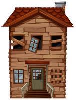 Altes Holzhaus mit zerbrochenen Fenstern