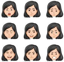 Kvinna och olika ansiktsuttryck vektor