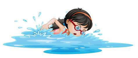 En tjej som simmar med skyddsglasögon