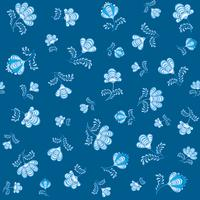 Virvel blommig sömlös mönster. Ornamental blomstra i rysk stil över blå bakgrund. vektor