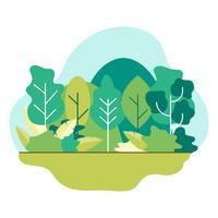 Naturlandskap Sommar eller vår. Gröna ängar träd i skog, berg. Plattstil illustration av naturen.