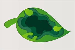 Naturansicht des grünen Blattes. Weltumwelttag und Ökologiekonzept. Umweltfreundliche und natürliche Grünpflanzen als Hintergrund oder Tapete. Papierkunststil.