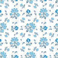 Blommigt sömlöst mönster. Dekorativa blommor i rysk stil vektor