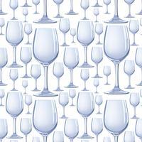 Vinglas sömlöst mönster. Drick vinbakgrund. Vinterfest dekor