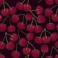 Körsbärsmönster. Ripe berry desert sömlösa mönster. Sommar söt vektor