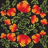 Blommigt sömlöst mönster. Dekorativa blommor i rysk stil