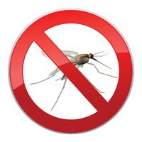 Stoppen Sie die Mücke. Verbotssymbol. Keine Mücken. Insekt Zeichen.