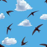 Fliege Vogel Fliesenmuster. Himmel Muster. Bewölkter Himmel mit fliegenden Vögeln vektor