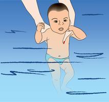 Baby simmar. Simning lektion
