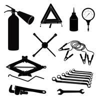 Auto-Service-Symbole. Repariere das Auto auf der Straße. Werkstattservice-Werkzeugsatz.