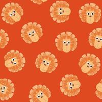 Tecknad djur lejon hörde sömlösa mönster. barn leksak kakel bakgrund