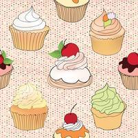 Kakmönster. Cafe Meny Kakel Bakgrund. Cupcake Dessert Poster